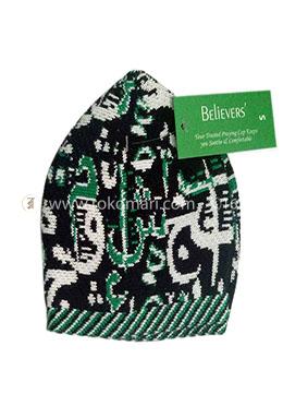Believers'Muslim Prayer Cap Alif Ba Ta Design -01 Pcs (Black, Yellow and Green Color)