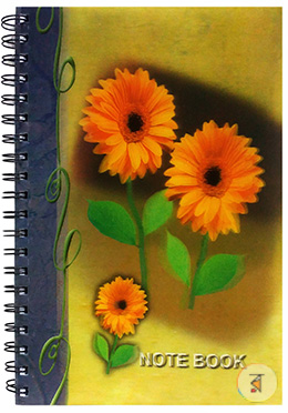 3 Yellow Flower 3D printed notebook - 240 Pages