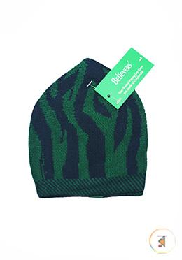 Believers'Muslim Prayer Cap Zebra Design -01 Pcs (Green and Navy Blue Color)