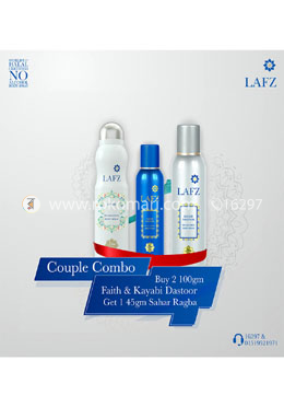Couple Combo Package 1- Kayani Dastoor and Faith With free Sahar Ragba 45g For Men and Women - Lafz Body Spray