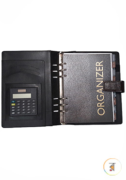 Hearts Organizer Original Leather Notebook with Calculator-Black