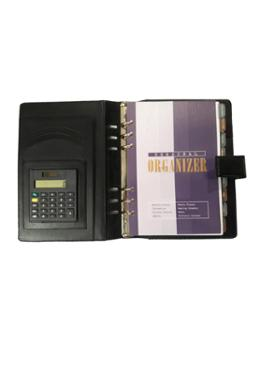 Hearts Organizer Artificial  Leather Notebook with Calculator-Black