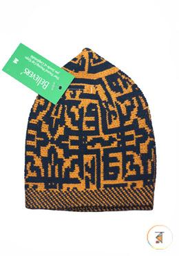 Believers'Muslim Prayer Cap Box Design -01 Pcs (Yellow and Navy Blue Color)