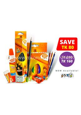 Atlas Junior Combo Package -2 (Focus Pencil-12 Pcs, Half Color Pencil-12, Glue Pen-1 Pcs, Sharpener-1 Pcs, Eraser-1 Pcs)