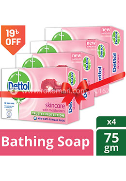 Dettol Skincare Bathing Bar Soap -75gm - Combo (4 Pcs)