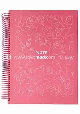 Hearts Panel Notebook Flower Design (Pink Color)