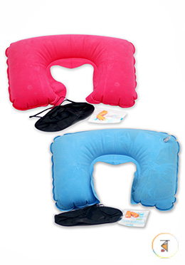 Travel Air Neck Pillow with eye Musk and Ear holes closer (Any Color) - 1 Pcs