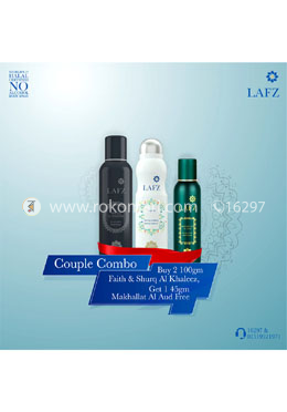 Couple Combo Package 2- Shurq Al Khaleez and Faith With free Makhallat Al Aud 45g For Men and Women - Lafz Body Spray