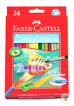 Water Colour pencil Long  (36 colours) With Free High Quality Brush