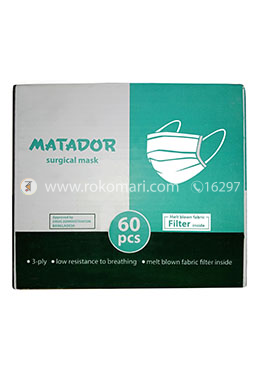 Matador Surgical Mask (3 ply with high quality filter, nose pin) - 1 Box (60 Pcs)
