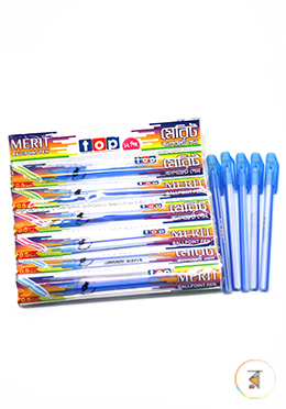 Top Merit Ball Pen Blue Color -12 Pcs