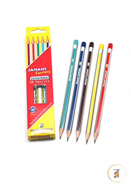 Janani Fantasy Extra Dark HB Pencil - 10Pcs (Different Body Color)