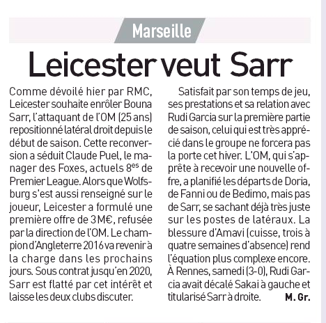 Leicester City want to sign Marseille's Bouna Sarr