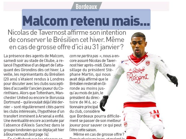 Bordeaux star Malcom won't leave for Arsenal