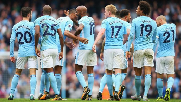 Who were the 5 best performing players in Manchester City's 2017/18 title winning campaign?