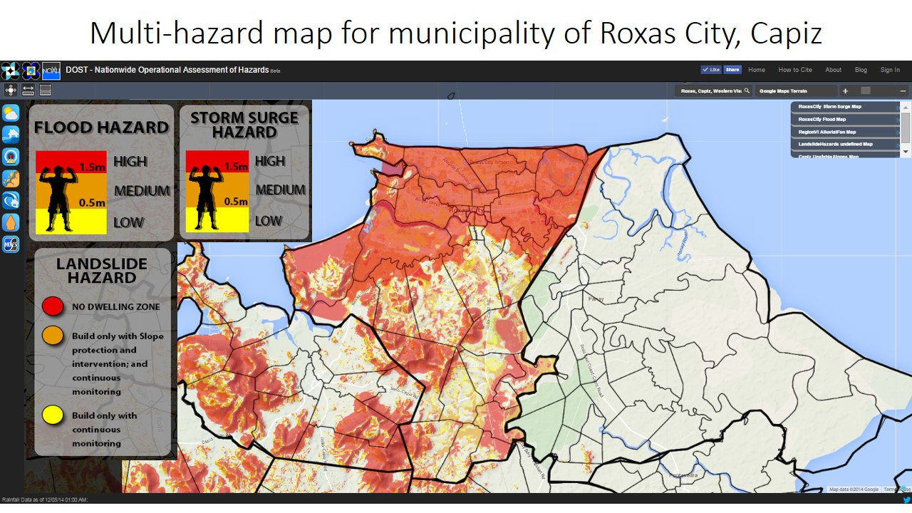 List Of Multihazard Maps Of Municipalities In The Yolanda - Roxas map