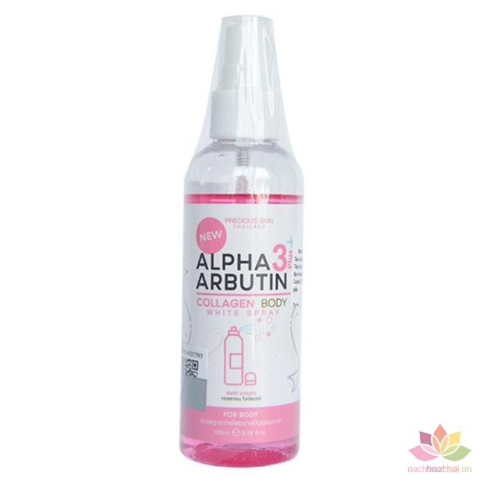 Xịt kích trắng da Alpha Arbutin 3+ Plus Collagen Body White Sray