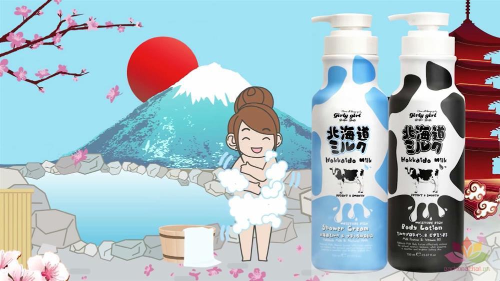 Sữa tắm Hokkaido Milk Whitening AHA