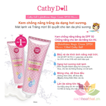 Kem chống nắng trắng da Whitening Sunscreen L-glutathione Magic Cream ảnh 4