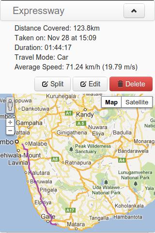 GPS tracker screen shot