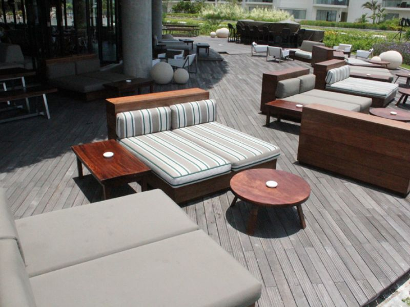 Sunbeds on the outdoor deck
