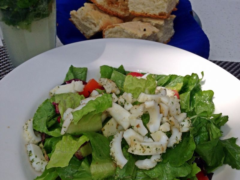 Mixed Garden Salad with Grilled Calamari