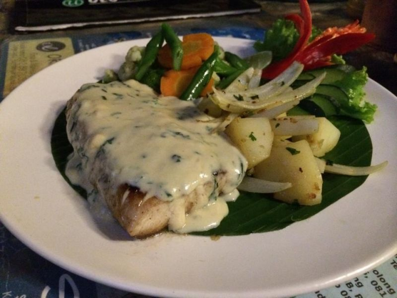 Mahi Mahi Steak in Basil Cream Sauce