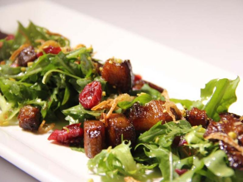 Pork belly and cranberry salad