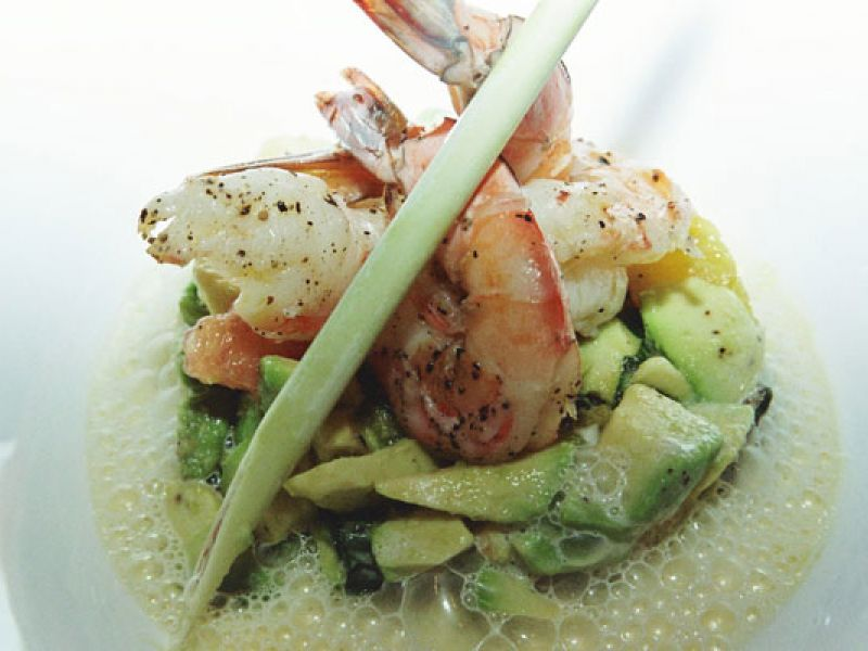 Grilled Tiger Prawn with Lemongrass Foam and Avocado
