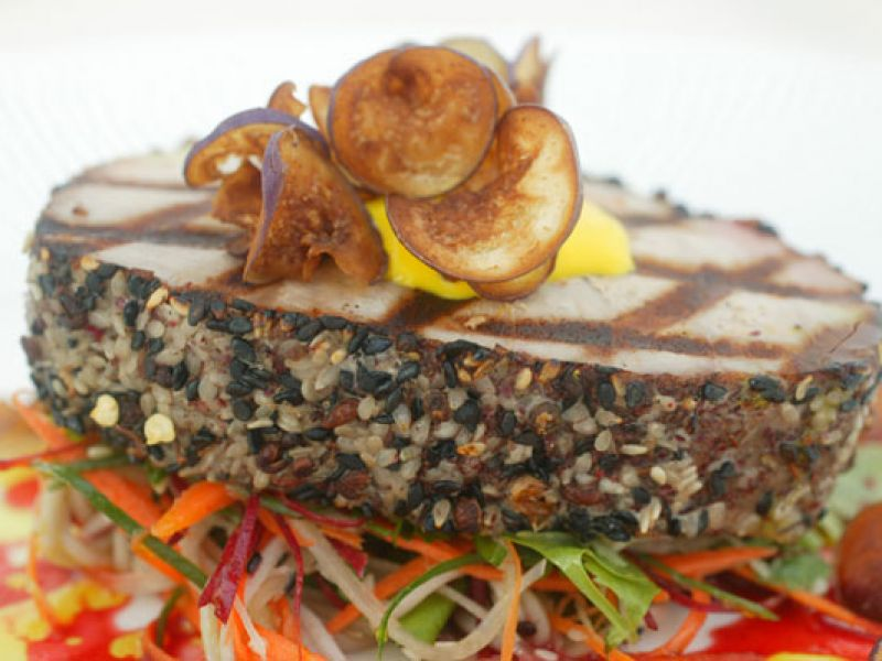 Tuna in Spice Crust with Crispy Eggplant and Raw Vegetable Salad