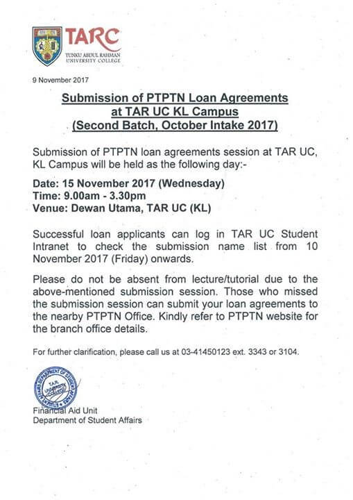 Important Notice The Ptptn Loan Agreements Submission Will