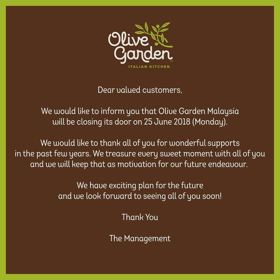 Olive Garden Permanently Closed | LoopMe Malaysia