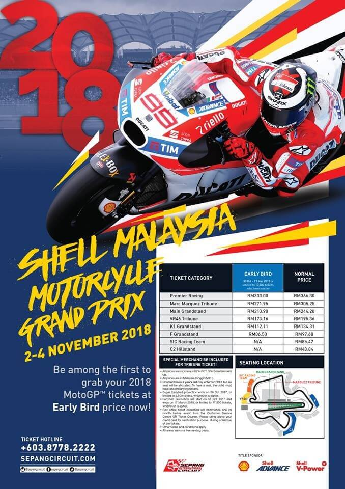 Shell Malaysia Motorcycle Grand Prix Motogp 2018 Early Bird