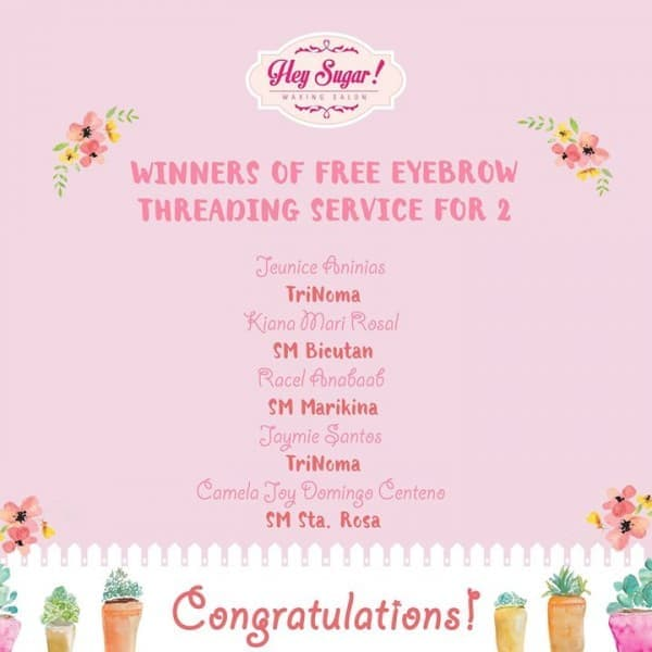 Congratulations To The Winners Of Free Eyebrow Threading For