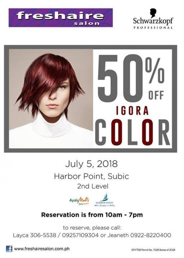 Hair Color Promo At Freshaire Salon In Harbor Point Subic Loopme