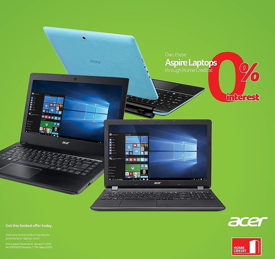 Acer Laptop Zero Interest Promo Through Home Credit