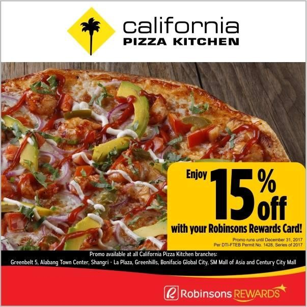 California Pizza Kitchen Promo With Robinson Rewards