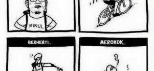 Bersepeda . Berhenti. Merokok