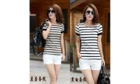 S1215 Short-sleeved striped slim T-shirt
