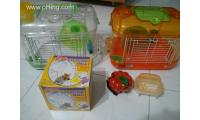 2 hamster cages + exercise ball  + pumpkin hideout + sand box