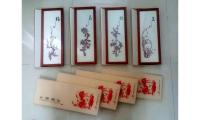 BNIB Flowers of the Four Seasons Chinese Paper Cutting in Frame S$68 (4-pc set) Neg