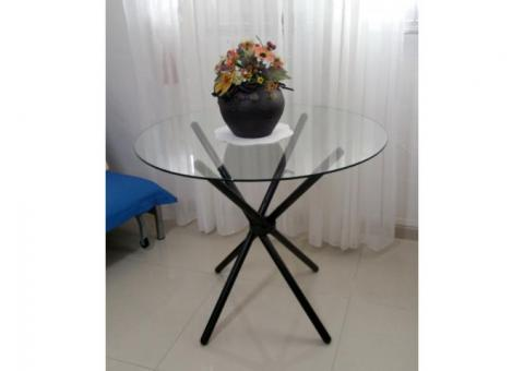 Round Glass Dining Table 3 ft diameter (91cm). Reduced $45