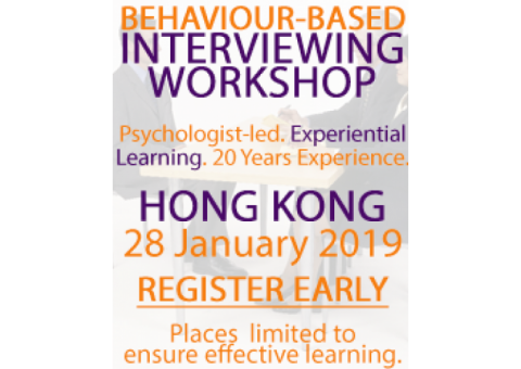 Generous Discount for 28 January 2019 Behavior-Based Interviewing Course – Hong Kong