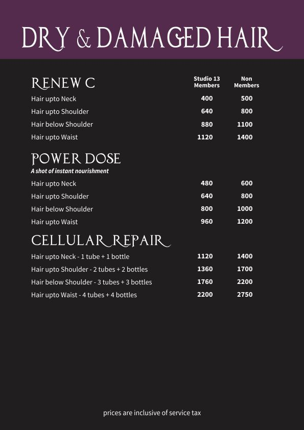 Hair Basics Price List