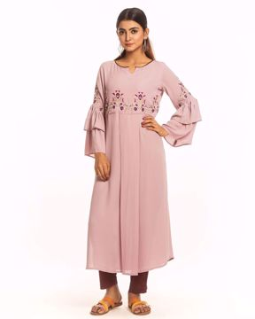 Picture of Frilled Sleeves Straight Kurtis