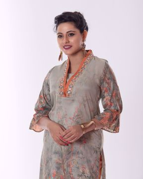 Picture of A-Line Ethnic Silk Kurti set