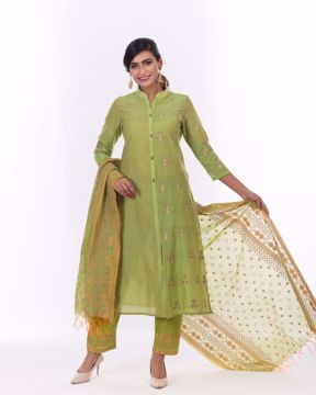 Picture of Ethnic A-line Half Silk Kurti Suit
