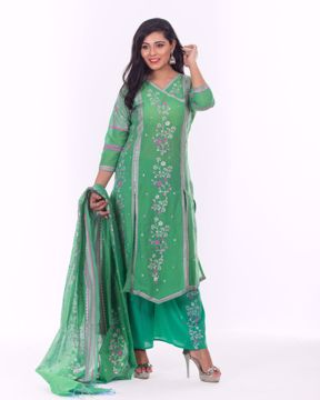 Picture of Angrakha Style Ethnic Half Silk Kurti