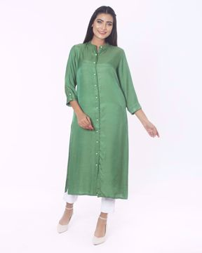 Picture of A-line Silk Ethnic Kurti
