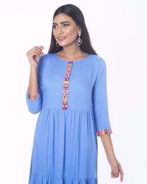 Picture of Tiered Pattern Viscose Ethnic Kurti